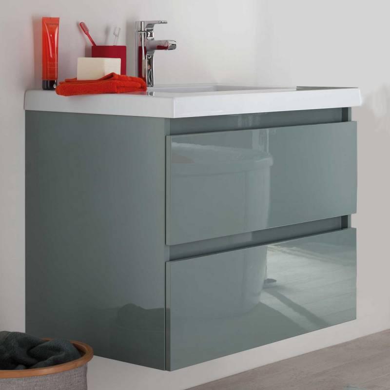 2 tiroirs compartimentés pour un lavabo en résine intégré. Une épure visuelle garantie