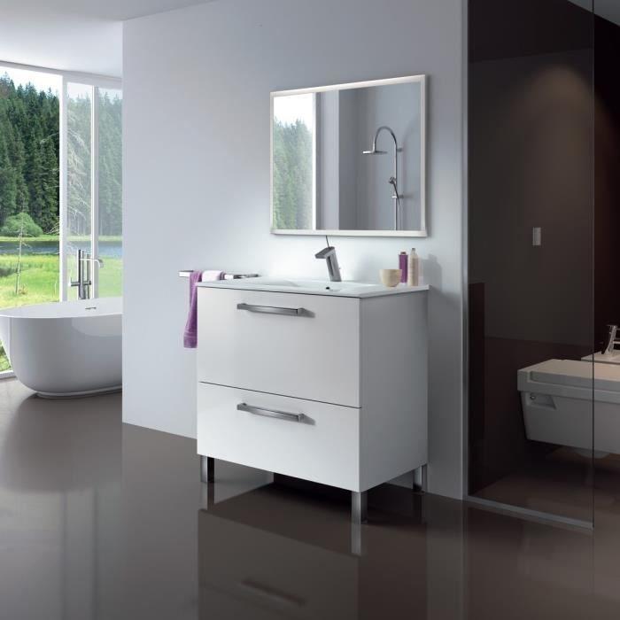 Un meuble de salle de bain sur pieds avec 2 grands tiroirs. Lavabo intégré.