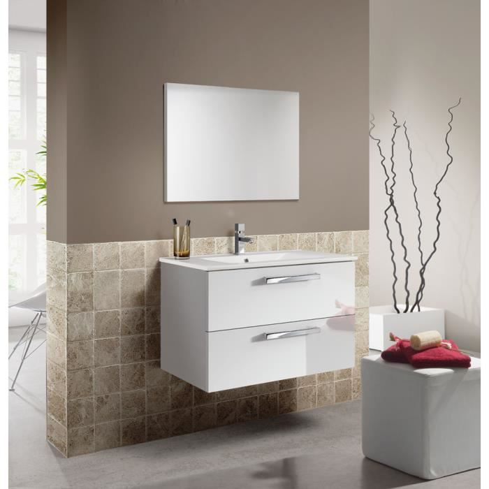 Un meuble de salle de bain et son lavabo suspendus
